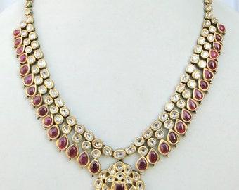 Vintage Antique 20k Gold Diamond Polki Kundan Enamel Work Necklace Karnataka India