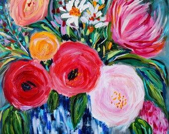 """Blue and White ginger Jar Art Impressionistic flowers floral still life pink peony art Fine Art Print, GICLEE PRINT """"Aimee"""""""