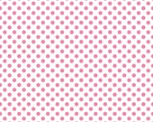 Polka Dot Fabric/Pink and White Basic/Riley Blake/Cotton Sewing Material/Quilting, Clothing, Crafts/Fat Quarter, Half or, By The Yard
