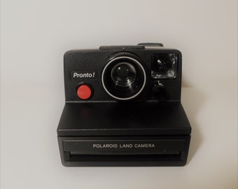 Black Pronto ! Polaroid Land Camera One Step SX-70 Clean Tested Works Instant Vintage Camera with Strap