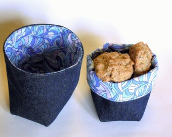 Fabric basket - Set of two - Denim and cotton