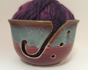 Large Yarn Bowl in Red Brown and Blue for Bulky Chunky Yarn