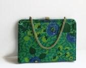 Vintage Blue Green Purse, Mod Mid Century, Colorful Handbag, Circa 1950s-60s