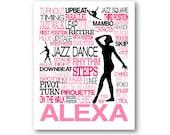 Jazz Dance Typography Poster, Personalized Jazz Dancer Art, Jazz Teacher Gift, Jazz Team Gift, Jazz Dancer Gift, Jazz Dance Canvas, Jazz Art