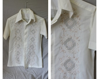 Vintage Mexican Wedding Shirt / 1970s Mens Ivory Beach Shirt / Mens Casual Wedding Shirt / Guys Mexico Shirt XS/S