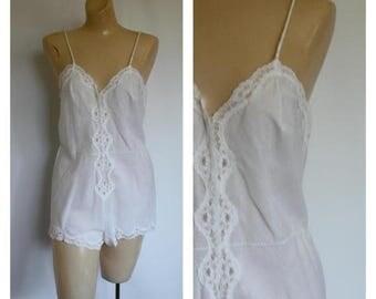 Sale 1950s White Cotton Body Suit /  Barbizon Bodysuit / Vintage 50s Romper / Vtg Teddy Lingerie S/M
