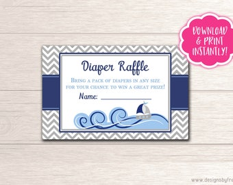 Nautical Baby Shower Diaper Raffle Card - Ahoy It's a Boy Themed Shower - Printable Diaper Raffle Card - Baby Shower Package - BS05