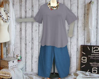 Plus sizes - US 18 - 34, UK 20 - 36, Shirt tail hem - WAVE style, jersey/cotton,grey