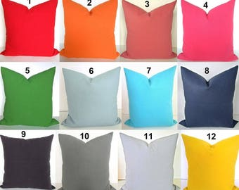 GRAY PILLOWS Green Pillow Covers Coral Throw Pillows Orange Decorative Pillow Covers Solid Blue Pillow Covers 16x16 18 20 .All Sizes Yellow