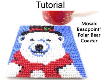 Beading Tutorial Pattern - Beaded Polar Bear Coaster - Christmas Holiday Mosaic Beadpoint - Simple Bead Patterns - Polar Bear Coaster #20314