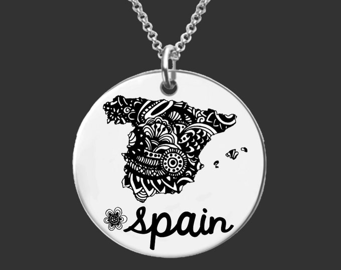 Spain | Spain Necklace | Bridesmaid Gifts | Friend Gift | Daughter Gift | Friend Gift | Personalized Gifts | Korena Loves