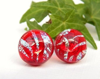 Cherry Red and Neon Blue Dichroic Glass Sterling Silver Stud Earrings, Fused Glass Jewelry, Red Art Glass Post Earrings