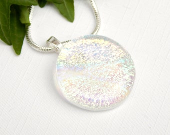 Crystal Clear Pastel Rainbow Dichroic Glass Pendant, Fused Glass Jewelry, Round Transparent Multicolor Art Glass Necklace