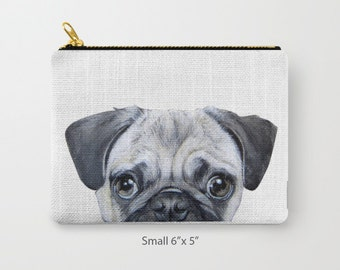 Pouch original Dog illustration design Pug, print on both sides, carry pouch