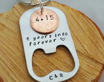 Personalized 7 Year Anniversary Keychain, Stamped Penny, husband Gift, Couples Gift, 1st Anniversary, Gift for Him/Her, 2010 Anniversary