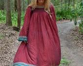 Red Indian boho dress vintage hippie gypsy maxi tent rayon folk rayon gauze peasant Goddess billowy 70's festival