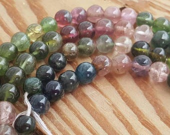 "1 -15"" Strand of Natural Semiprecious Gemstone Beautiful Multi Colored Tourmaline Smooth Rounds 4.5-5mm (72 Beads)"