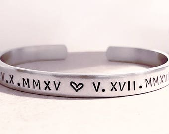 Roman Numerals, Anniversary, Wedding, Date, Hand Stamped, Personalized Gift, Custom Bracelets, Personalized, Birthday, Cuff, Stamped