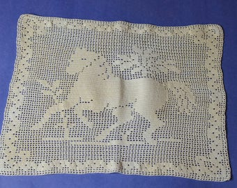Vintage Rectangular Piece of Crochet With a Horse On It