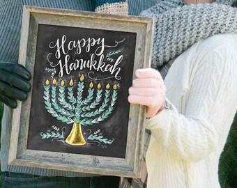 Hanukkah Print - Festival of Lights - Holiday Decoration - Chalkboard Art - Chalk Art - Happy Hanukkah - Kitchen Sign - Holiday Print