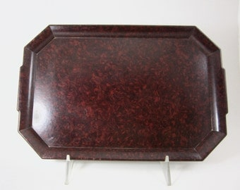 serving tray bakelite burgundy black art deco 1930s  drinks cocktails made in England