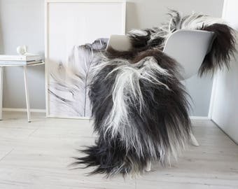 Natural Genuine GIANT XXL Rare Breed Icelandic Sheepskin Rug - Blacky Brown | White Mix - Soft Long Wool - SI 213