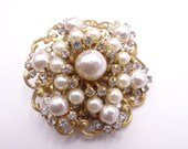 Gorgeous Miriam Haskell Pearl and Rhinestone Brooch on Gold Tone Setting - Vintage Haskell Jewelry - Vintage Designer Jewelry - Collectible