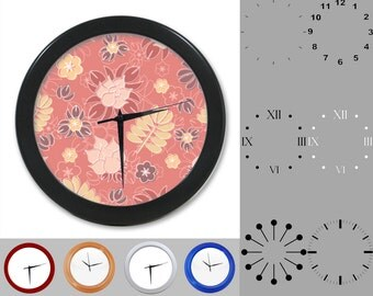 Whimsical Wall Clock, Abstract Floral Design, Floral Artistic, Customizable Clock, Round Wall Clock, Your Choice Clock Face or Clock Dial