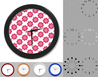 Pink Floral Wall Clock, Simple Flower Design, Cute Artistic, Customizable Clock, Round Wall Clock, Your Choice Clock Face or Clock Dial