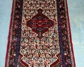 YEAR END CLEARANCE Persian Rug - 1980s Hand-Knotted Rudbar Hamadan Rug (3494)