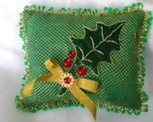 Christmas Décor BEADED ACCENT PILLOW, 9x7.5, Holly Leaf Beaded and Jeweled, Price Includes Shipping