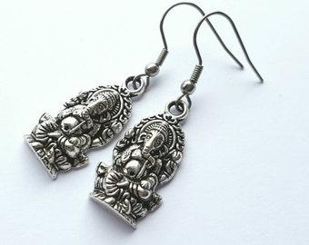 Silver Ganish Earrings with Stainless Steel Earwires - Tibetan Silver - Hinduism - spiritual