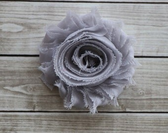 Light gray shabby chic rosette hair clip frayed chiffon flower clip