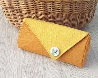 Donegal tweed clutch handbag purse yellow orange gifts for women