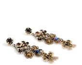 RESERVED for Lissa, Swarovski earrings silver brass, earrings long, dangle long earrings, gypsy jewelry Swarovski, Christmas gift handmade