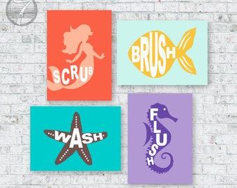Kids Bathroom Decor Art Prints for Girls Boys, Brush, Wash, Flush, Splash Seahorse, Starfish, Mermaid Set of (4) // Kids Artwork - UNFRAMED