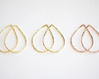 Teardrop Earring Finding - large open hammered water drop earring frame, yellow vermeil gold, pink rose vermeil gold, 49mm x 35mm chandelier