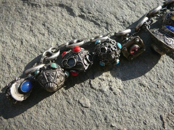 Vintage Etruscan Charm Bracelet, Vintage Italian 800 Silver Charm Bracelet, Peruzzi Style Charm Bracelet