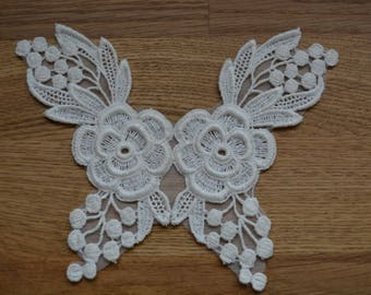 Vintage Ivory Lace Embroidered Appliques