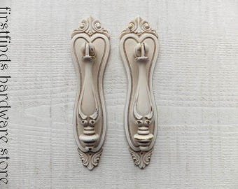 2 Antiqued Drop Pulls Ornate Backplates Shabby Chic Vintage Italian Furniture Door Hardware Painted Kitchen Cabinet