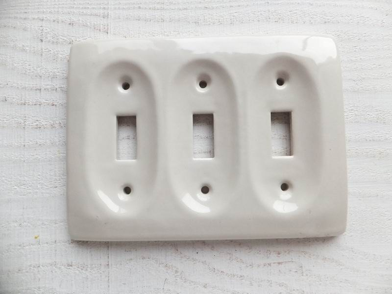 Porcelain Triple Light Switch Plate Cover Electrical Ceramic