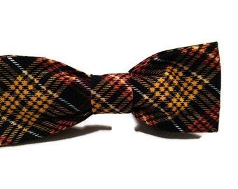 Love of Fall Plaid dog bow tie, Orange dog tie, black dog bow tie, yellow dog bow tie