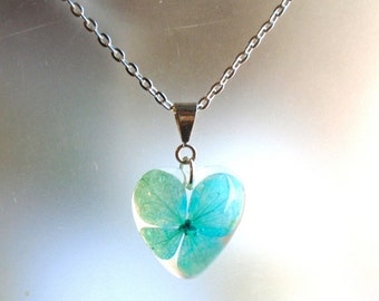 Hydrangea Heart Real Pressed Flower Resin Pendant Necklace