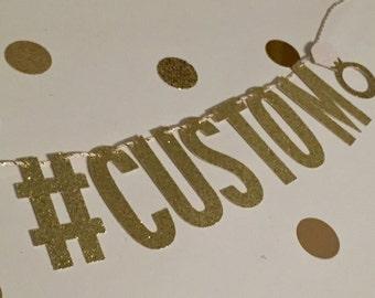 Engagement Ring Hashtag Banner   Custom   Wedding Decoration   Bridal Shower Banner   Bachelorette Party Decor   Photo Booth Sign