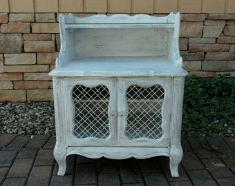 Vintage French Provincial Nightstand,French Provincial End Table,French Provincial Furniture,Grey White Furniture,Painted Furniture