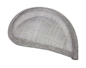 Grey Sinamay Paisley Beveled Teardrop Fascinator Hat Base - Available in 8 Colors