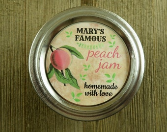 Mason Jar Canning Labels -  Vintage Peach Design - Personalized Canning Labels  - 20 - 2 Inch Round or 12-2.5'' Round Sticker Labels - vfc