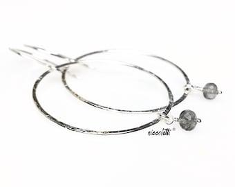 Grey Moonstone Hoop Earrings / Eternity Hoops / Gold or Silver Circle Earrings / June Birthstone Gifts for Her / Boho Moonstone Dangles