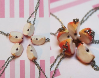 Apple Friendship Necklaces - Friendship Jewelry, Apple Necklaces, Fruit Jewelry, Fruit Necklace, Bff Jewelry, Bff Necklaces