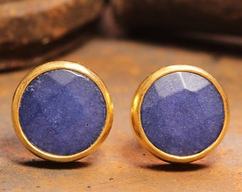 Handcrafted Artisan 24K Yellow Gold over 925 Sterling Silver Natural Gemstone Blue Jade Ancient Roman Byzantium Art Designer Stud Earrings